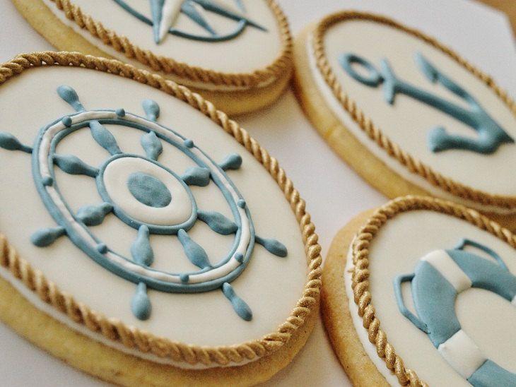 Nautical Cookies - Set of 8 Orange Vanilla Spice Cookies. $112,00, via Etsy.
