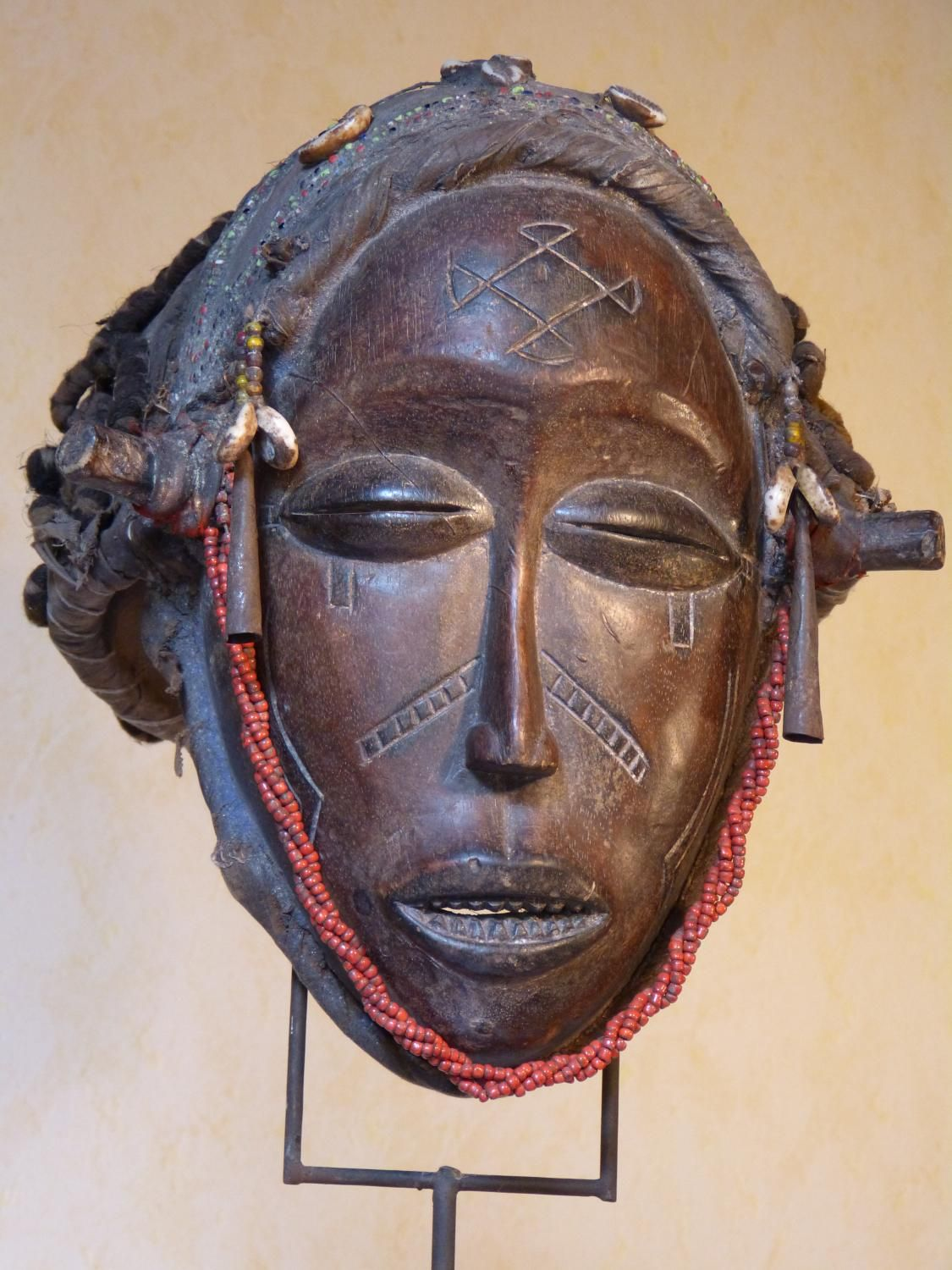 Antique for sale African mask Chokwe cap with brown patina Mask Head Sculpture Fine arts architecture