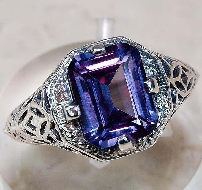 2CT Color Changing Alexandrite 925 Solid Sterling Silver Art Deco Ring Sz 7 #OLDENGLISHSILVER