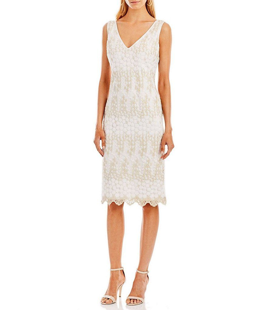 c2da2ef51f Nicole Miller New York Sleeveless Embroidered Cocktail Dress - Gomes ...