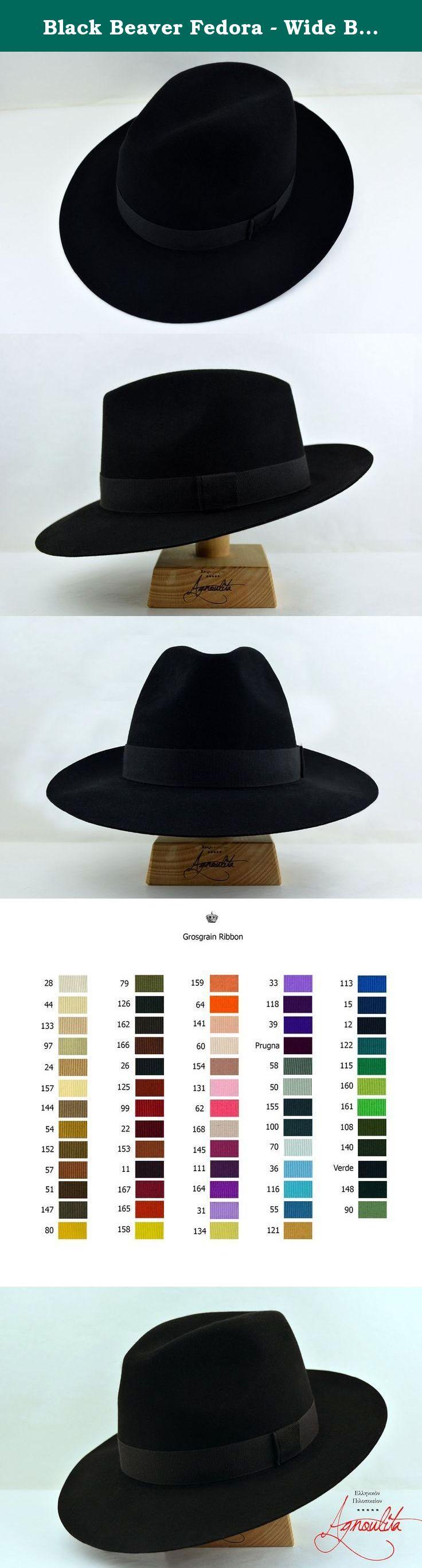 Black Beaver Fedora - Wide Brim Pure Beaver Fur Felt Handmade Fedora Hat -  Men Women 610a0fba3a1d