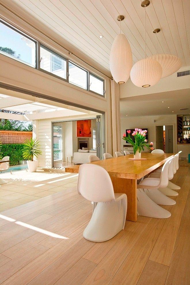 Beach House By Sanctum Design Via Home Adore   George Nelson Bubble Lamps  By Modernica  