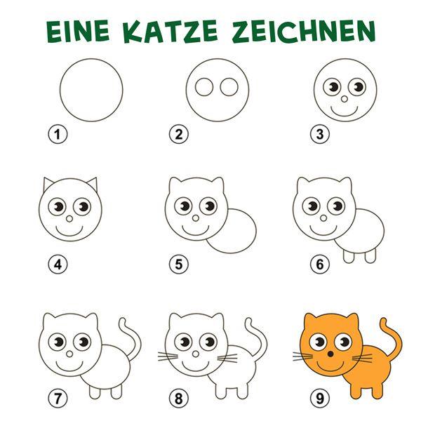 eine katze zeichnen  zeichnen lernen für kinder katze