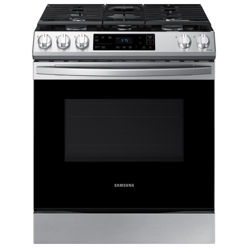 Samsung 30 In 6 0 Cu Ft Slide In Gas Range With Self Cleaning Oven In Stainless Steel Nx60t8111ss The Home Depot Self Cleaning Ovens Gas Range Oven Cleaning