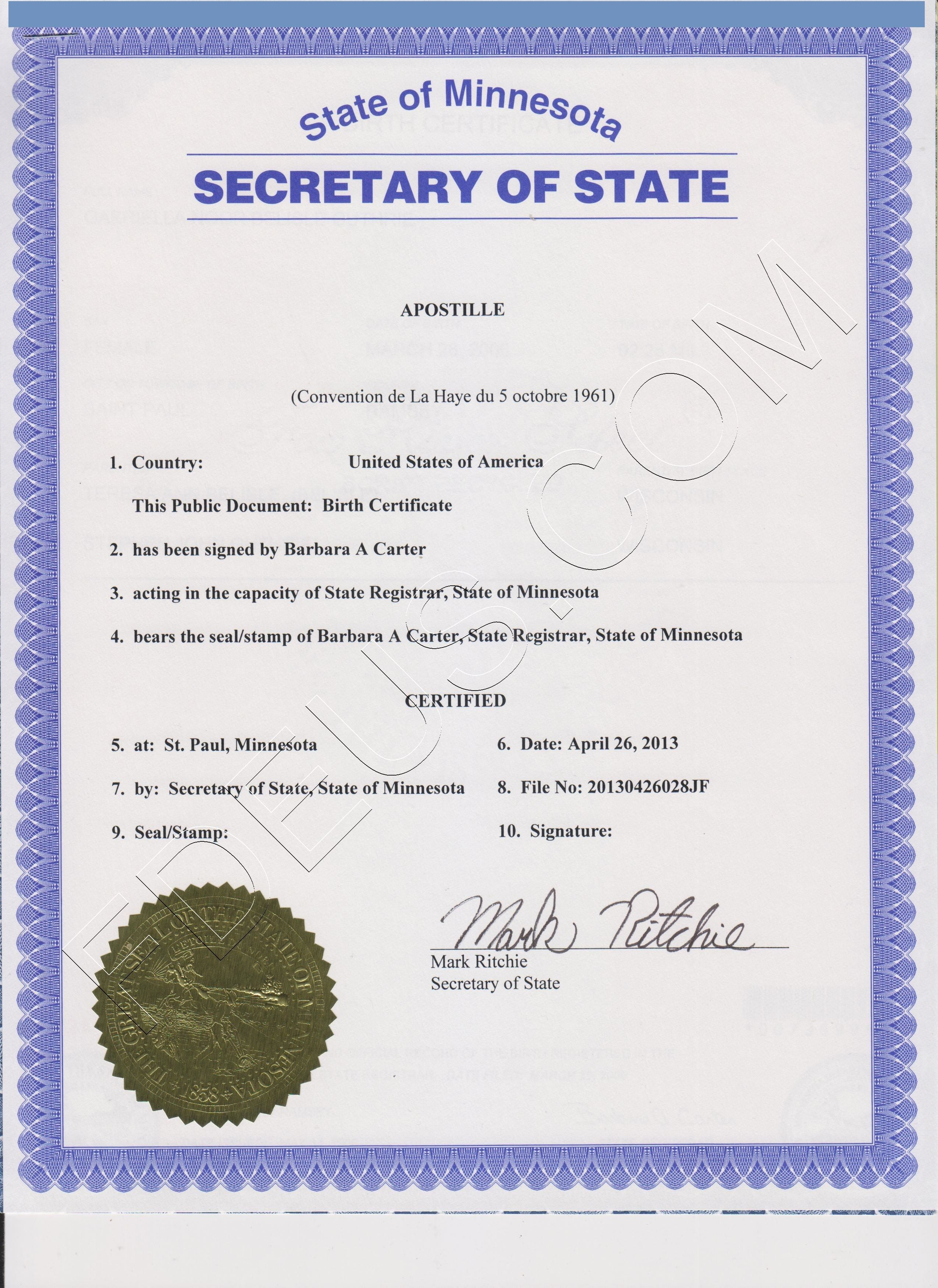 Minnesota Apostilleminnesota Apostille Is A Seal That Will Make Your  Minnesota Document Valid Outside