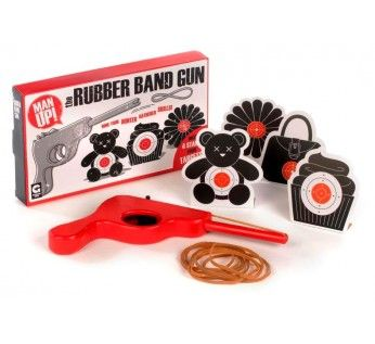 Man Up! The Rubber Band Gun  Have fun in the office or at home with this rubber band gun from the Man Up! range.