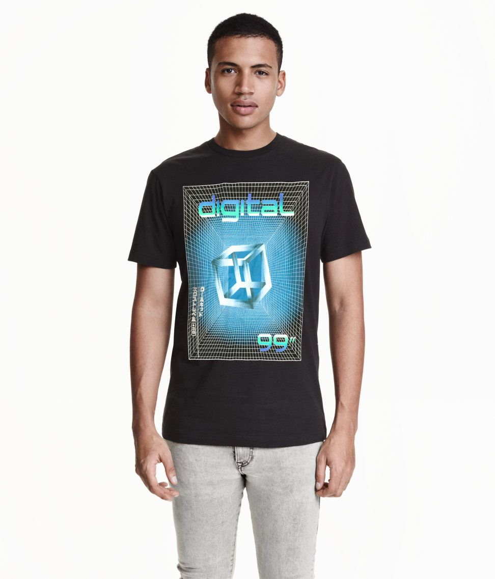 T-shirt with Printed Motif | H&M saved by #ShoppingIS
