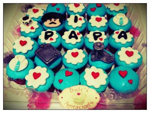Minicupcakes de Vainilla y Chispas de Chocolate con Radiador y Bomba para Papá :-D