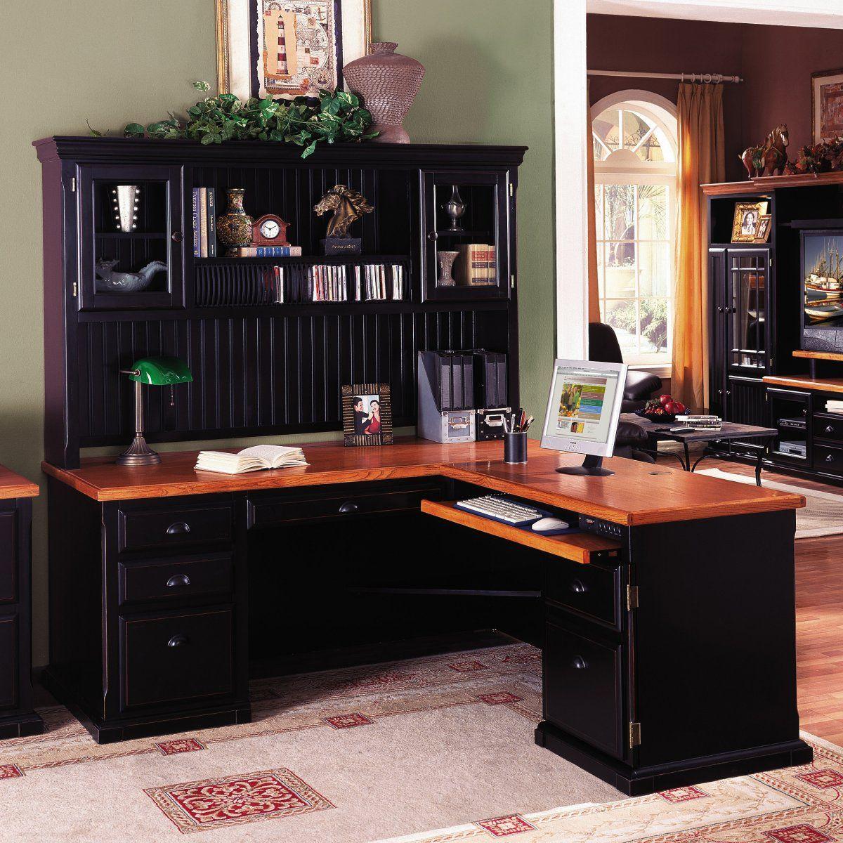 Southampton L Desk-Optional Hutch by Kathy Ireland - Black