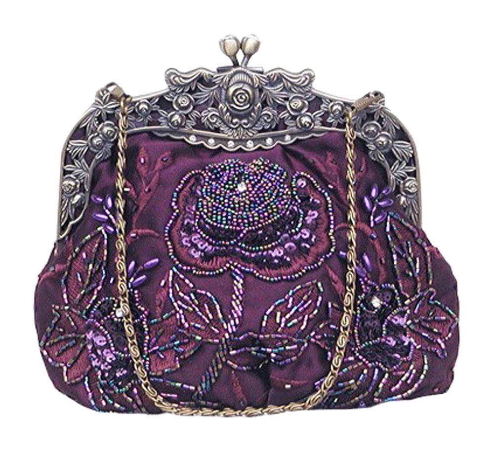 Purple Women's Retro Exquisite Rose Pattern Beaded Evening Party Handbag, Magnetic snap, beaded design. Best match your dresses. Fashion, retro, and elegant.