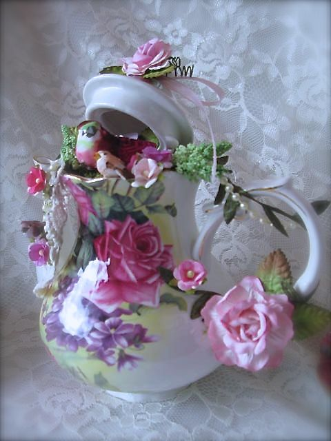 martica designs shabby chic tea for two altered pink teapot and teacups craft ideas. Black Bedroom Furniture Sets. Home Design Ideas