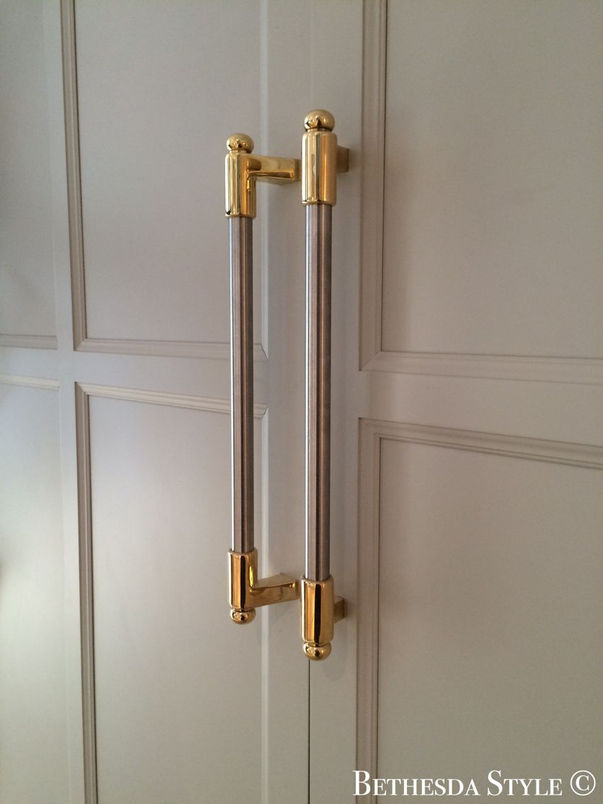 Bethesdastyle brass steel fridge door pulls custom made by lacanche cabinets by - Custom made cabinet ...