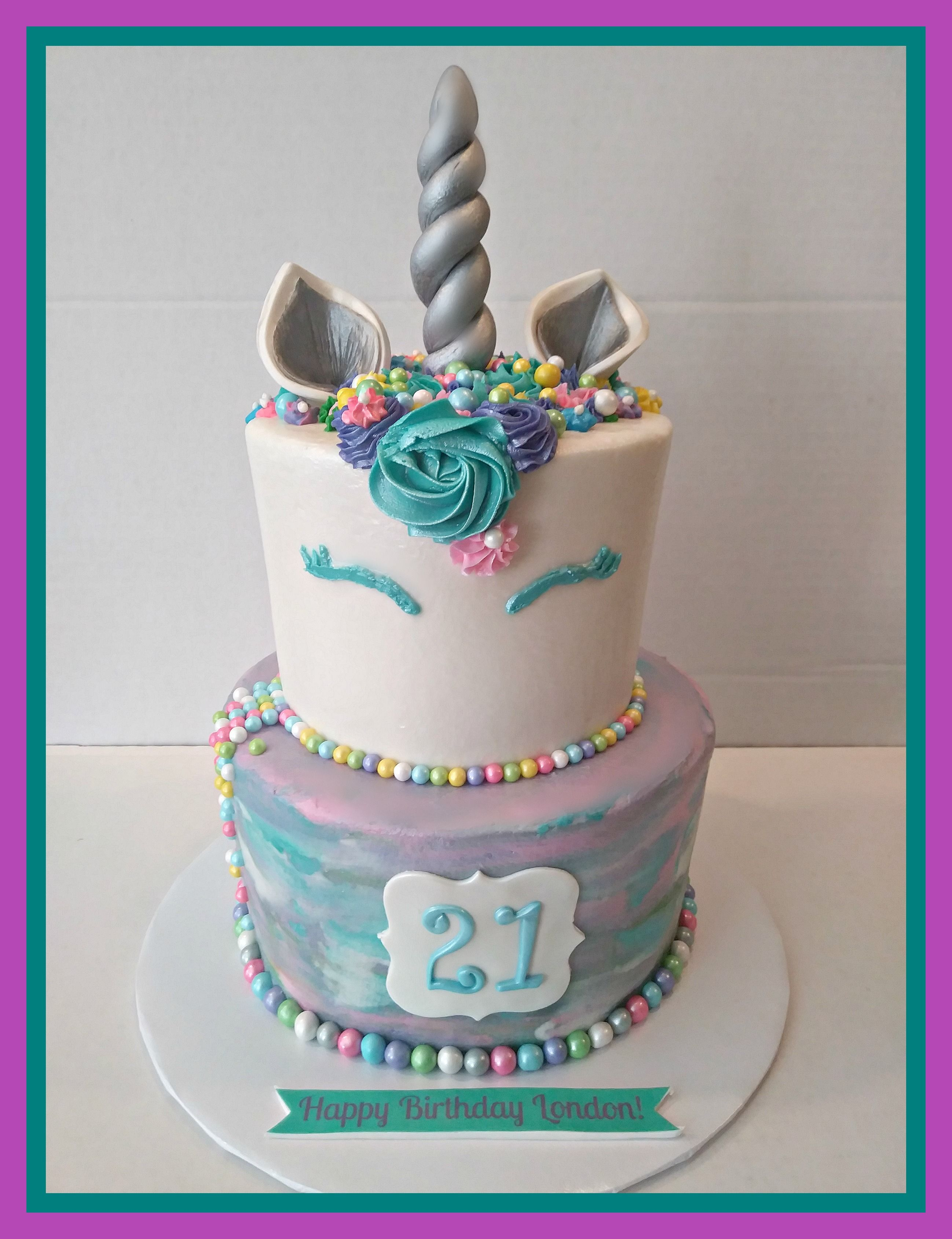 Pleasing Tiered Unicorn Cake W Water Color Effect With Images Unicorn Personalised Birthday Cards Xaembasilily Jamesorg