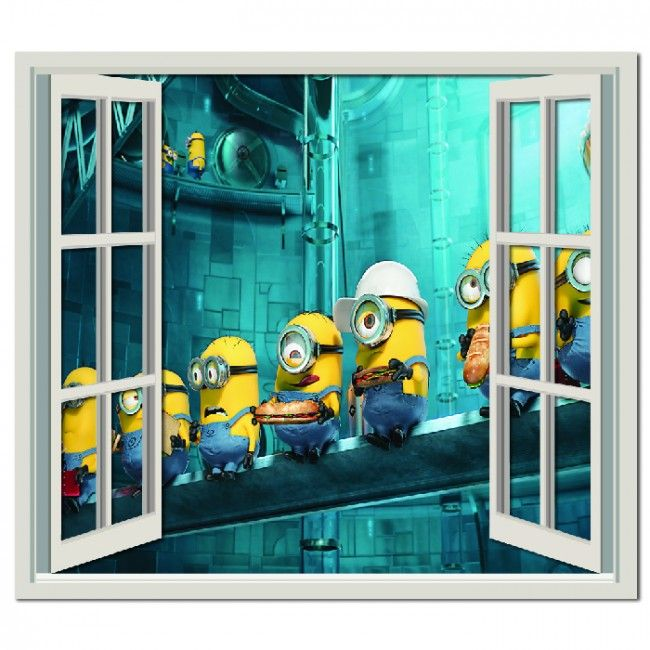Despicable Me Minion Workers Wall Sticker Window Wall Decal - Minion wall decals