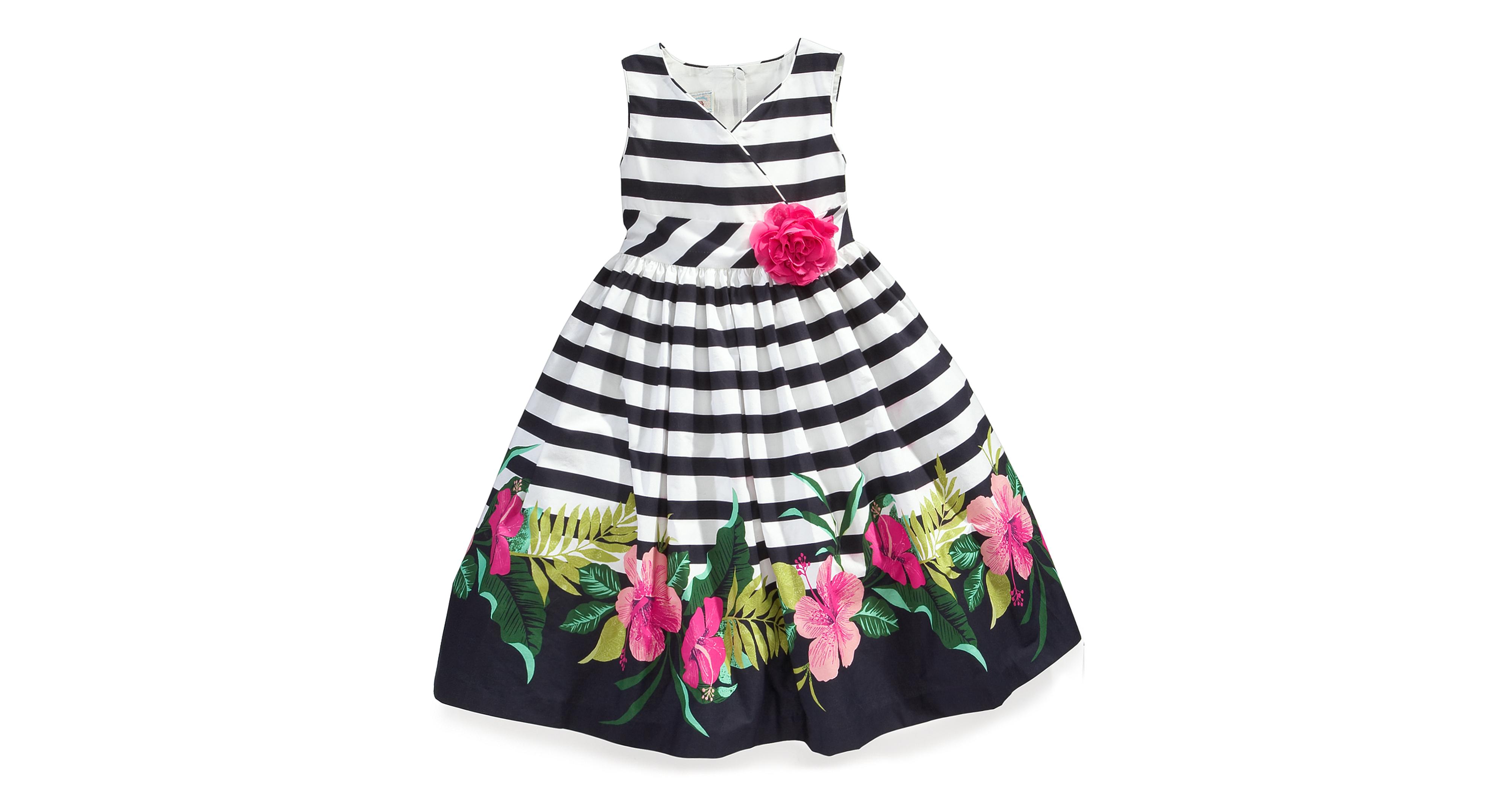 Marmellata Kids Dress Little Girls Stripe Floral Border Print