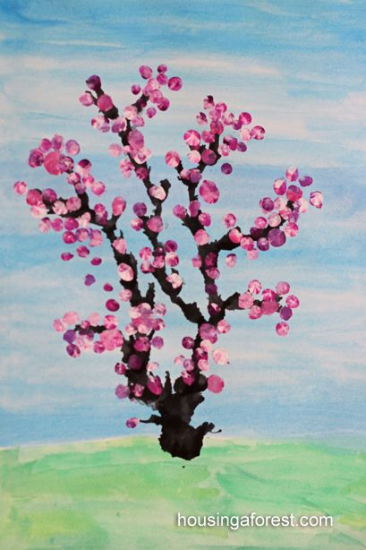 Spring cherry blossom tree beautiful kids art and a for Simple cherry blossom painting