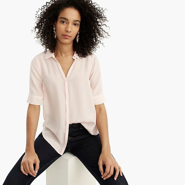 929f3ad55552a4 short-sleeve button-up shirt in silk - women's shirts | Corporate ...