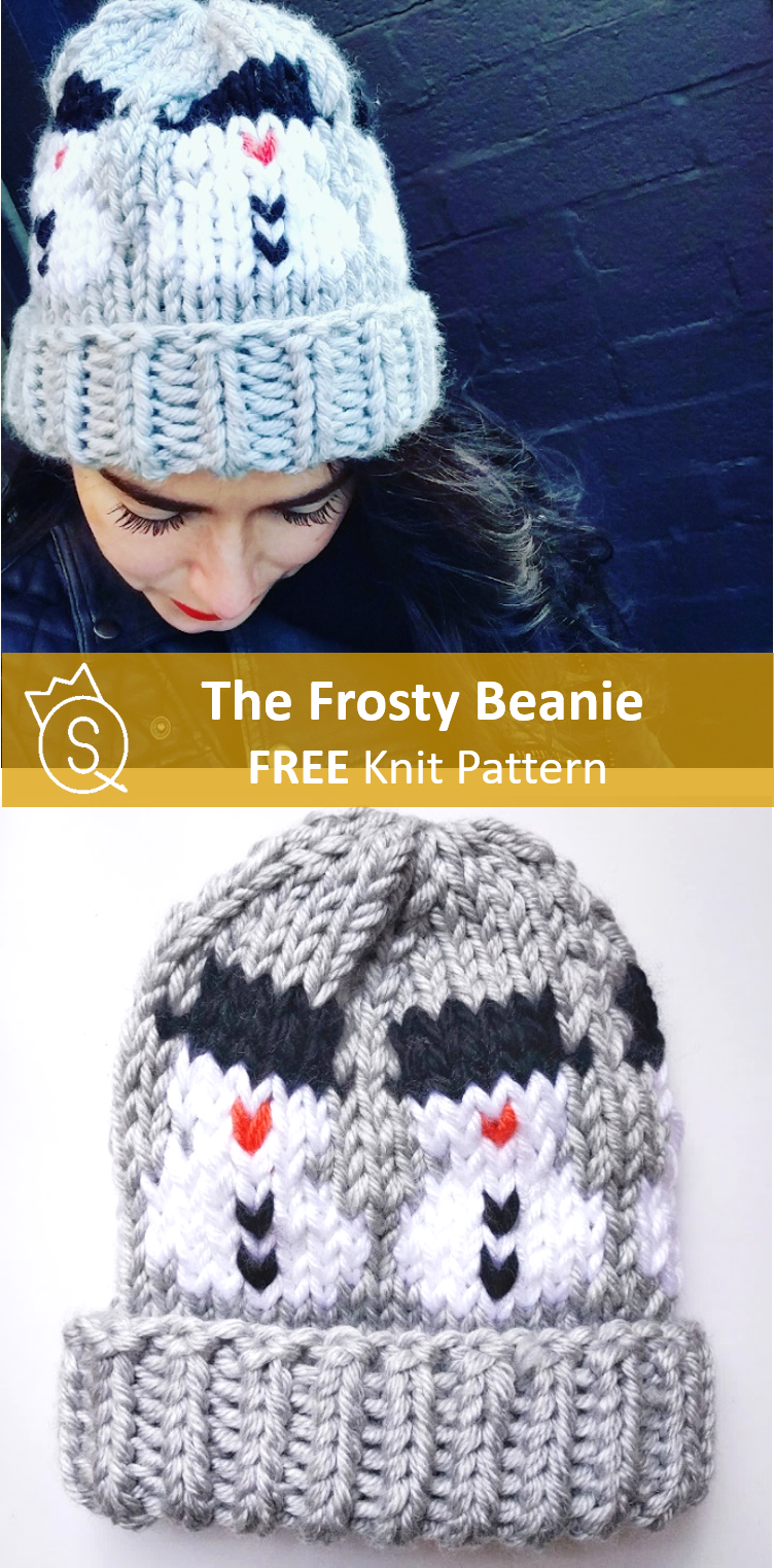 Free easy knit pattern for winter holidays! Frosty the snowman knit hat   thequeenstitch  frostybeanie 6d5dd659751