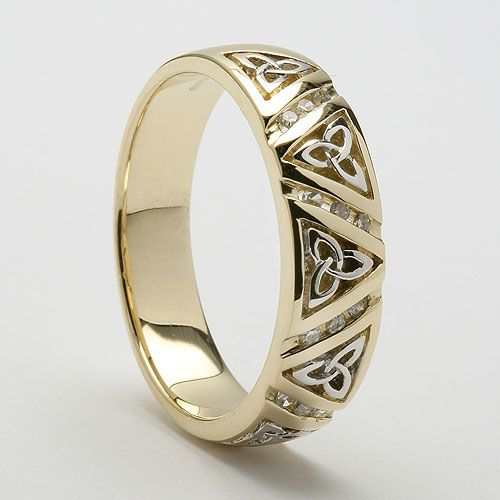 Diamond Trinity Knot Wedding Ring Celtic Wedding Rings Mens Wedding Rings Vintage Engagement Rings