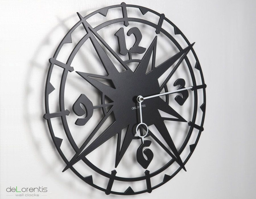 "Metal Wall clock COLOMBUS -  40 cm / 16"" - Laser cutting design - © Tolonensis Creation -  This clock is an original creation designed by french creator Jacques Lahitte. Shipping within EU countries, USA, Canada, Japan, Australia... Contact us for other destinations."