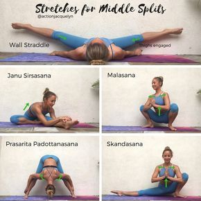 stretches for middle splits  easy yoga workouts