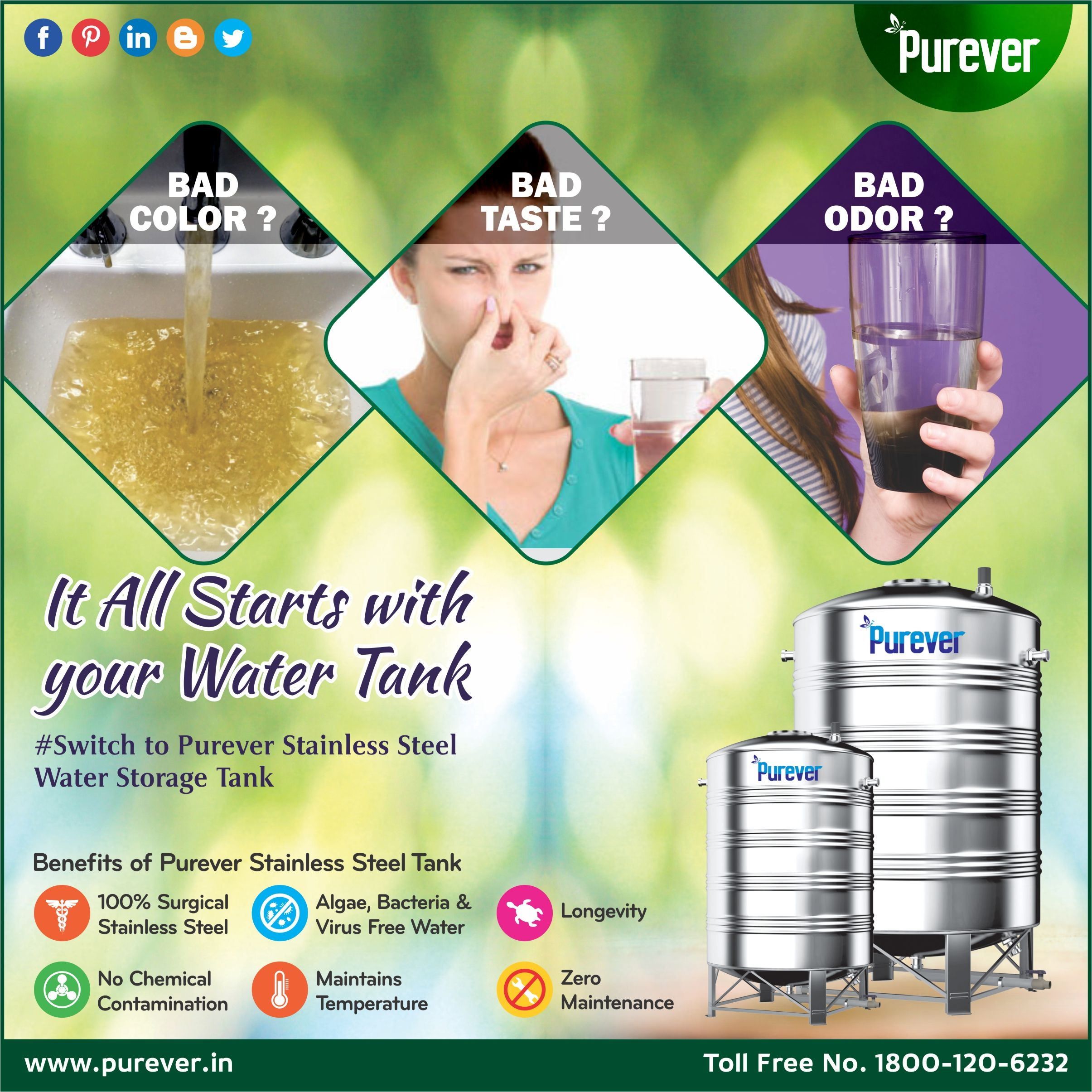 Bad Color Of Water Bad Taste Of Water Bad Oror Of Water It All Starts With Your Water Tank Purever Provid Water Tank Steel Water Tanks Water Storage Tanks