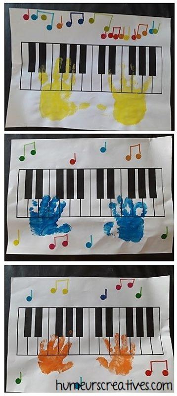 Activités collage et peinture autour de la musique : piano et notes de musique –