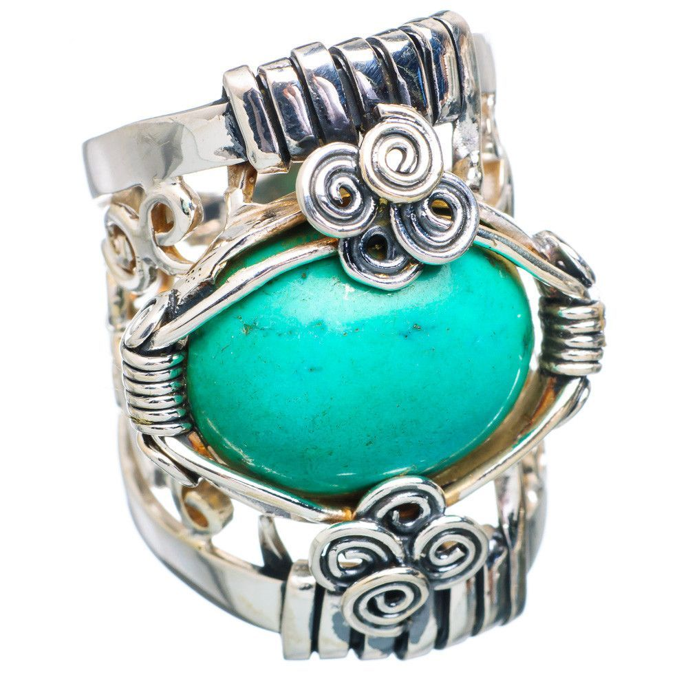 Huge chrysocolla sterling silver ring size ring