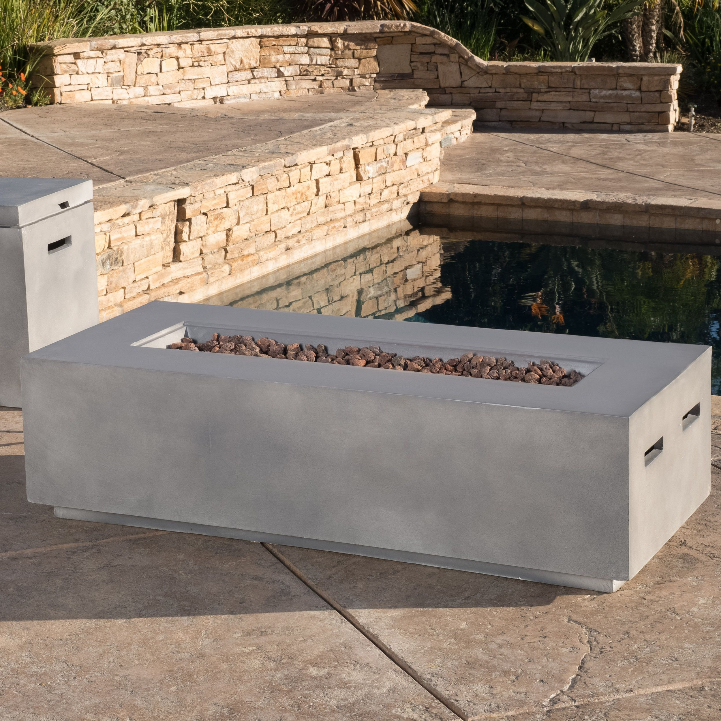 Christopher Knight Home Santos Outdoor 56 Inch Rectangular Propane Fire Table With Lava Rocks Outdoor Fire Table Fire Table Propane Fire Pit Table