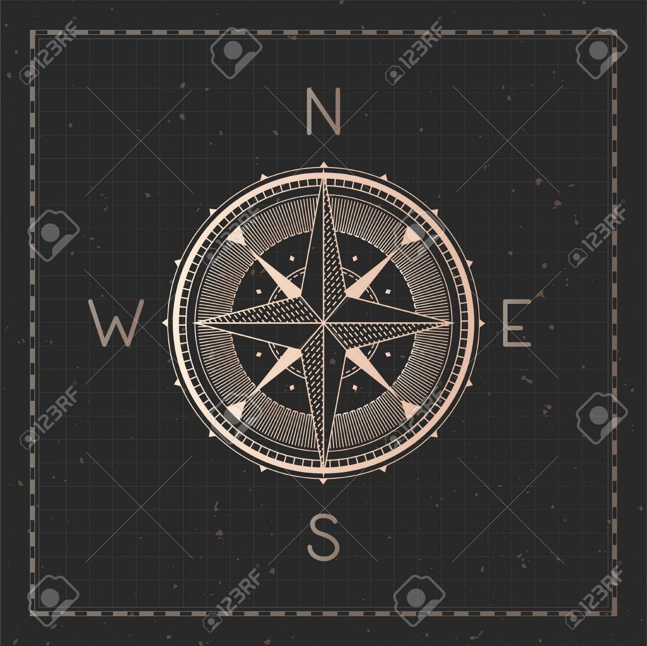 Vector Illustration With Gold Compass Or Wind Rose And