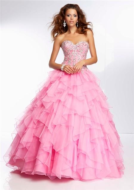 209d79a2826 Ball Gown Sweetheart Long Pink Organza Ruffle Petal Beaded Prom Dress Corset  Back