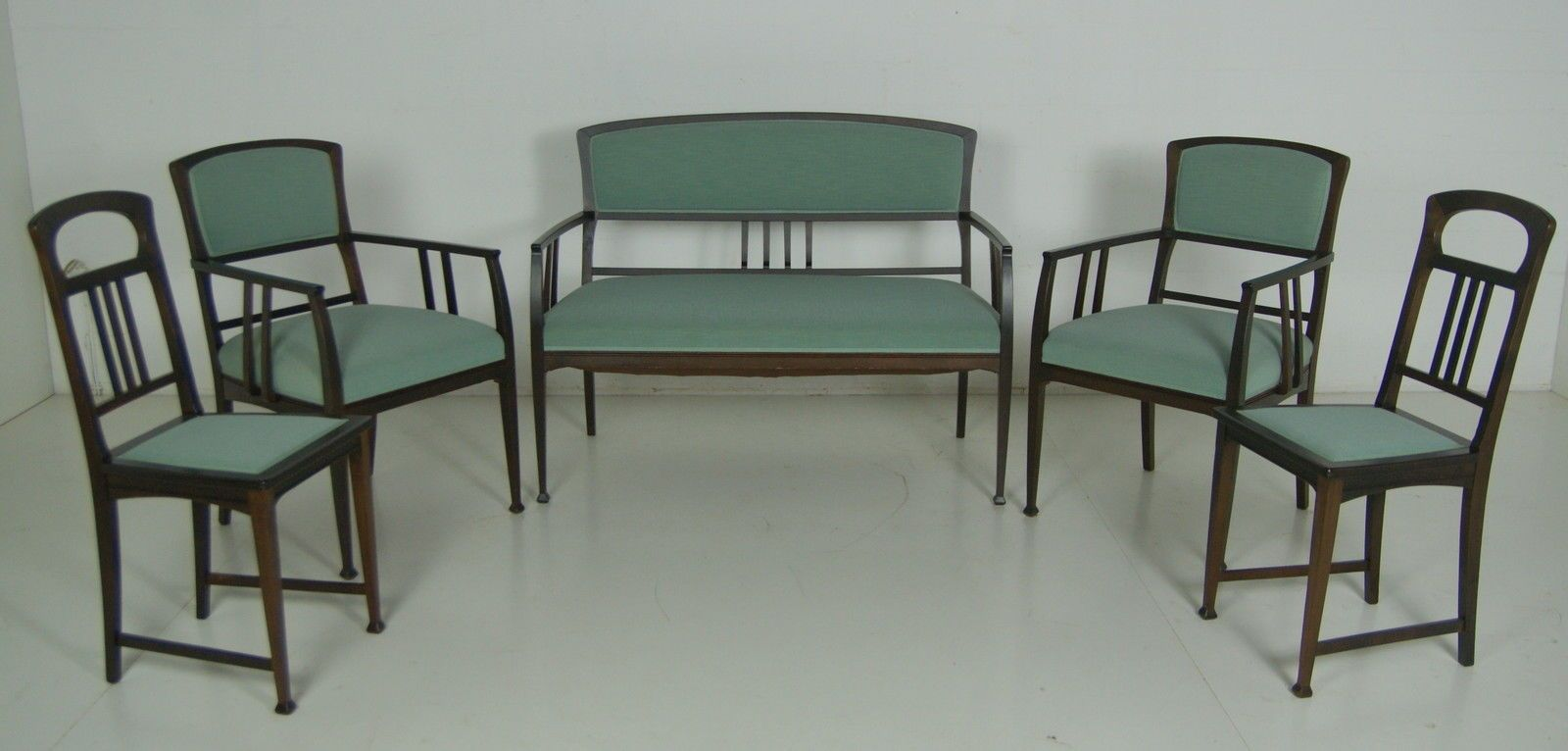 Sitzgarnitur Jugendstil Restauriert 6 Teilig Esszimmer Tisch Sessel