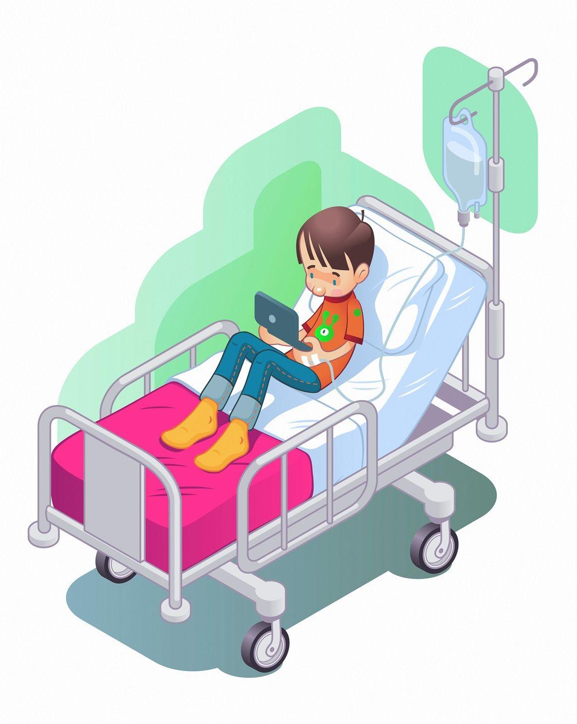 Boy On Iv Drip In Hospital Boy Hospital Illustration Children Illustration Illustration Drip Art