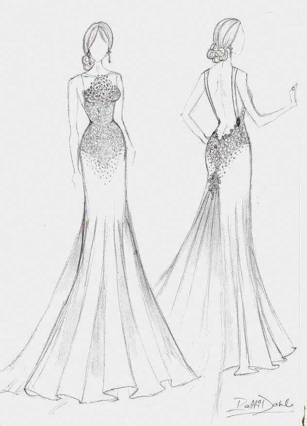 Crystal beaded soft chiffon wedding dress with low back