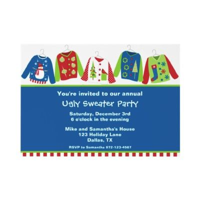 Ugly Christmas Sweater Party Invitations Christmas Party Ideas - holiday party invitation