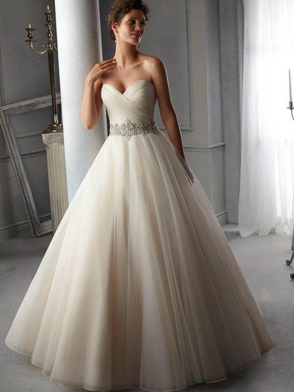 A Line Princess Sweetheart Organza Sleeveless Court Train Wedding Dresses Ruffles Beaded Sash