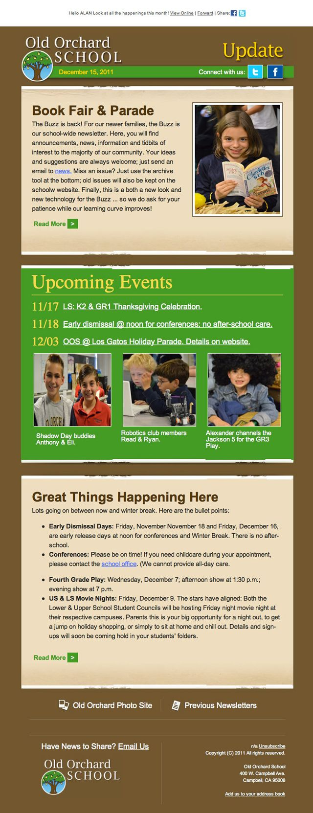 Old Orchard School Email Newsletter  Pto Stuff