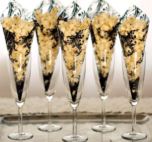 Gourmet Desserts Wedding Cakes By Shelly Wade: Gorgeous Popcorn Cones In Decorative Cellophane In