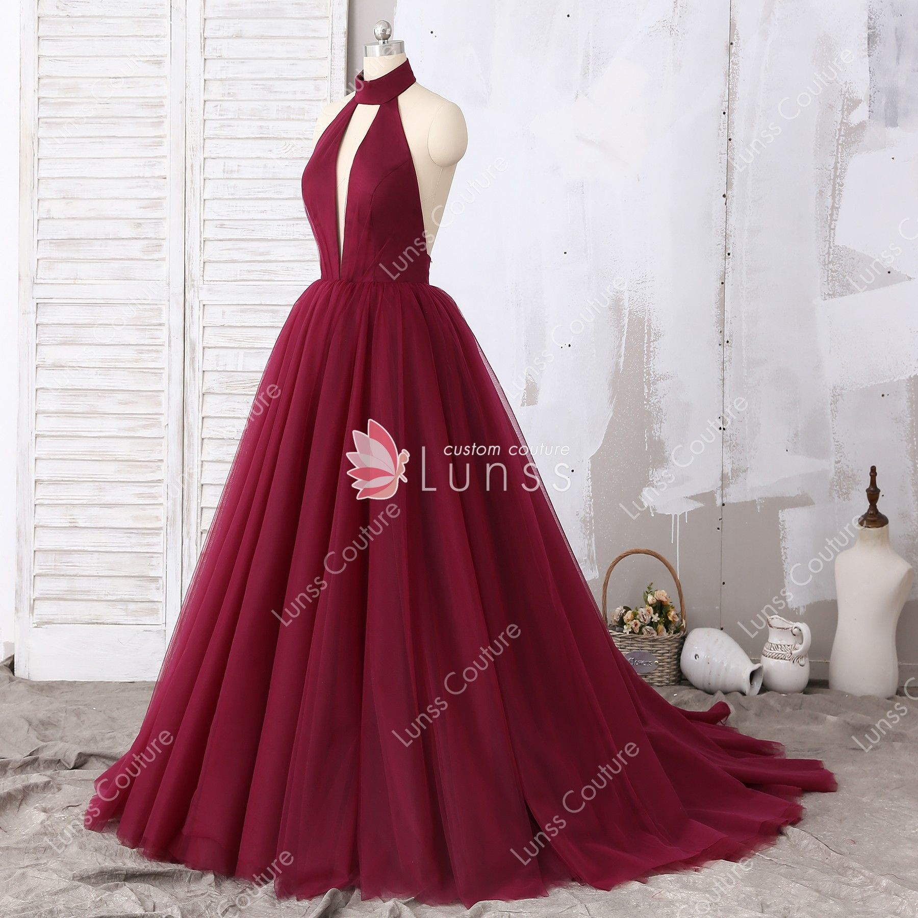 Burgundy Halter High Neck Plunging Tulle Ball Gown Puffy Prom Dress With Open Back Prom Dresses Ball Gown Prom Dress Inspiration Ball Gowns