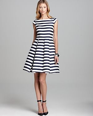 Cute Dresses Casual Work Pret Striped Dress Black