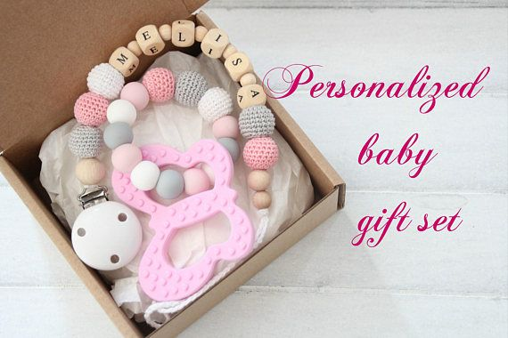 Personalized girl baby gift set pacifier clip with teething nissa personalized girl baby gift set pacifier clip with teething negle Gallery