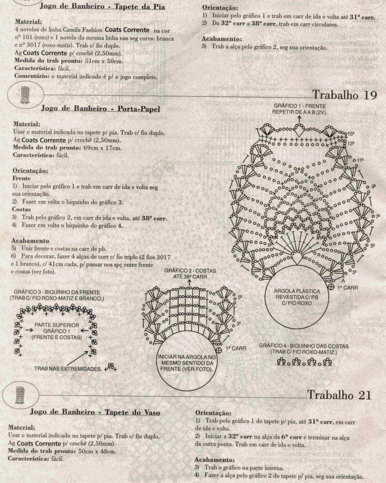 Juego de toilette tejido al crochet - con patrones y diagramas ...