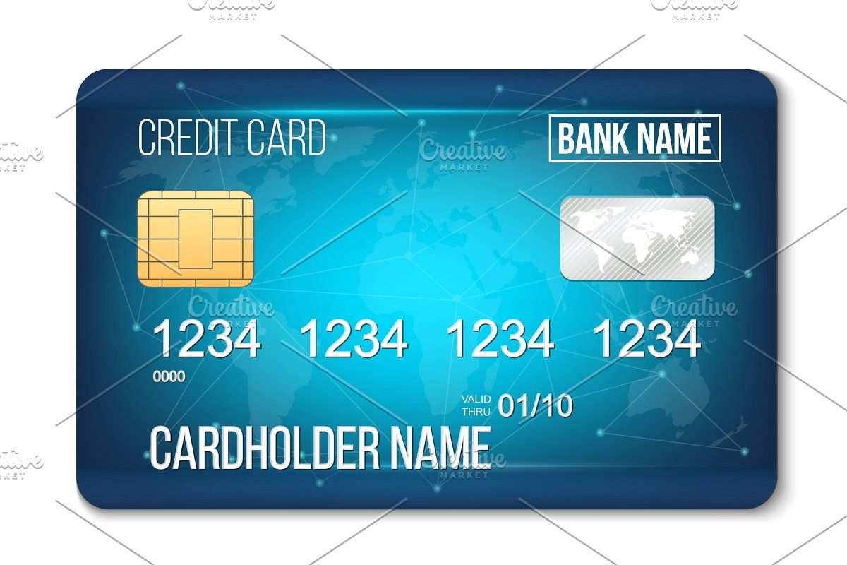 Realistic Detailed Credit Cards Set With Colorful Abstract Design