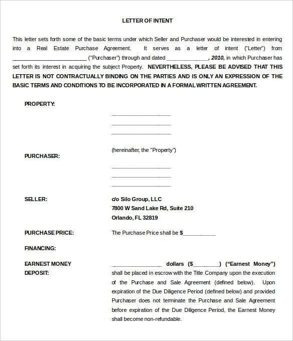 11  real estate letter of intent templates