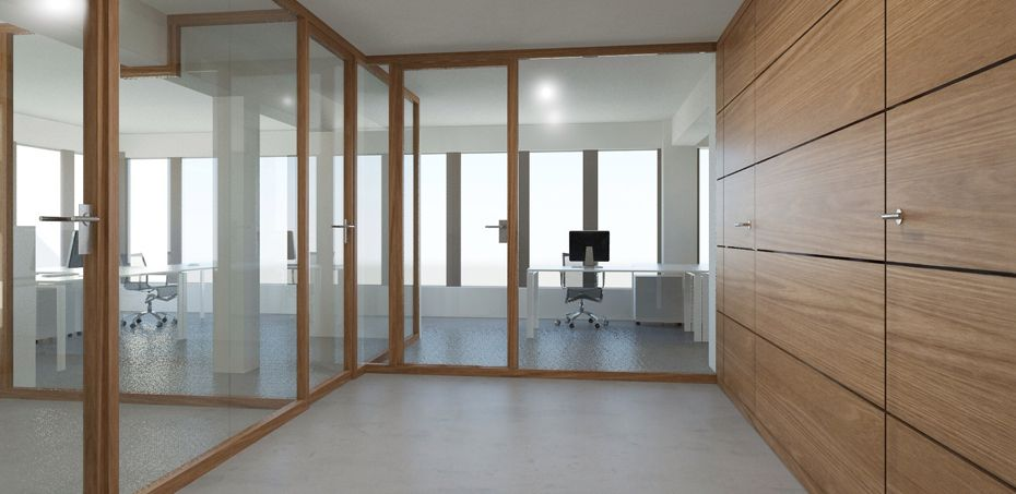Wood glass partition wall system nodoo officefurnitureitaly office furniture italy Interior glass partition systems