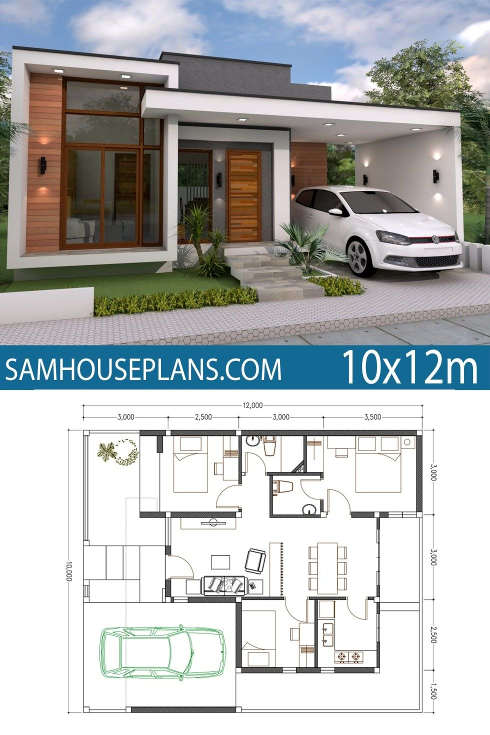 Home Plan 10x12m 3 Bedrooms Sam House Plans House Construction Plan Simple House Design Bungalow House Plans
