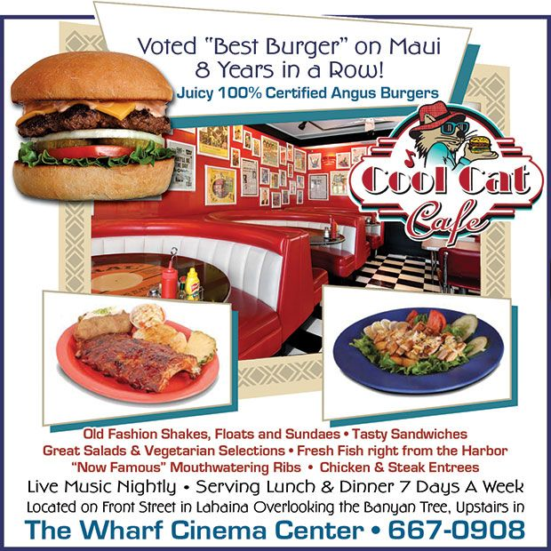 Cool Cat Cafe Ad great food Maui Delicious sandwiches