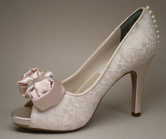 Bridal Shoes Expensive: Wedding Shoes Ivory Wedding Peeptoes With By