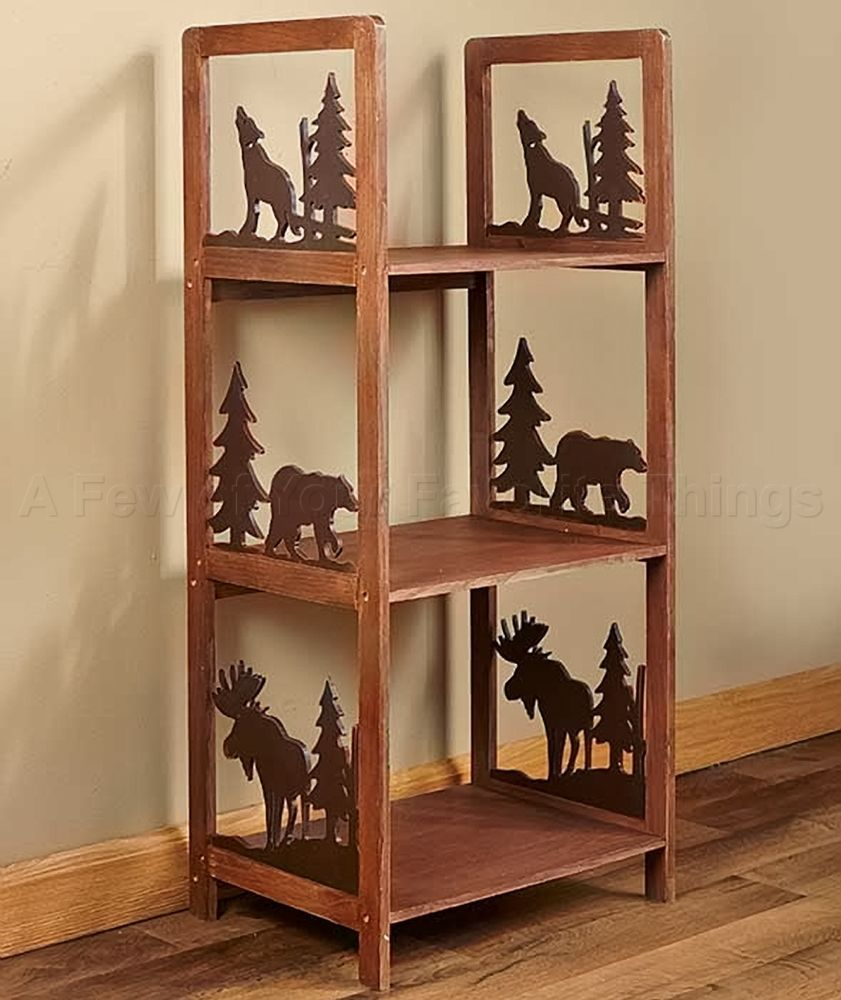 Storage shelf log cabin moose bear tree wolf lodge living for Rustic bear home decor