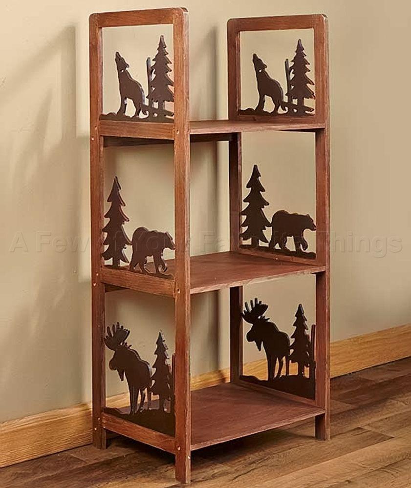STORAGE SHELF LOG CABIN MOOSE BEAR TREE WOLF LODGE LIVING ROOM RUSTIC HOME DECOR